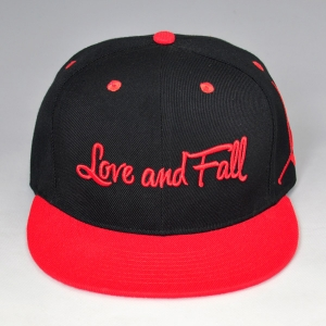 black and red embroidery snapback cap